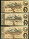 Confederate Notes:1864 Issues, T69 $5 1864 PF-9 Cr. 563 Extremely Fine;. T69 $5 1864 PF-9 Cr. 563 Extremely Fine;. T69 $5 1864 PF-9 Cr. 563 About Unc... (Total: 3 notes)