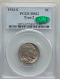 Buffalo Nickels, 1913-S 5C Type Two MS62 PCGS. CAC. PCGS Population: (222/1073). NGC Census: (224/529). CDN: $775 Whsle. Bid for NGC/PCGS MS...