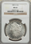 Morgan Dollars: , 1885-O $1 MS65 NGC. NGC Census: (30121/5353). PCGS Population: (21846/3367). CDN: $125 Whsle. Bid for NGC/PCGS MS65. Mintag...