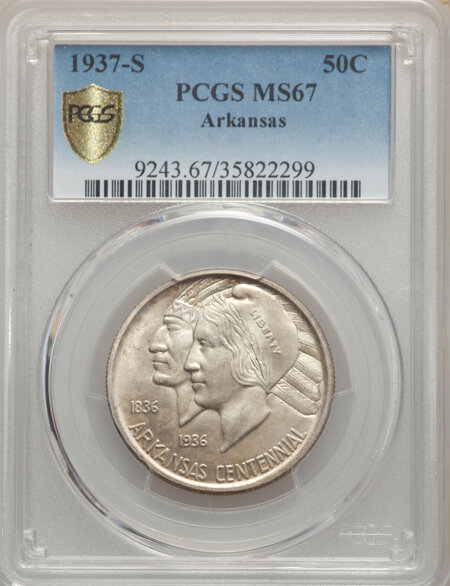 1937-S 50C Arkansas, MS PCGS Secure 67 PCGS