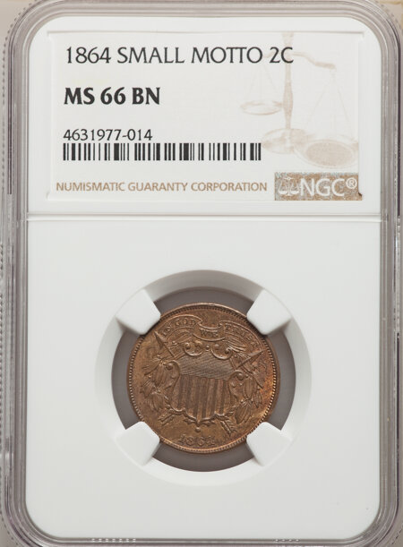1864 Small Motto, BN 66 NGC