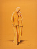 Works on Paper, María Elena Delgado (Mexico, 1921-1996). Couple, 1977. Pencil on paper. 26-1/2 x 20 inches (67.3 x 50.8 cm). Signed and ...