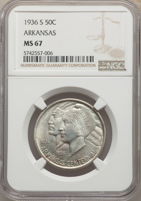 1936-S 50C Arkansas, MS 67 NGC