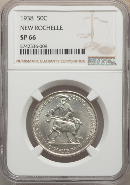 1938 50C New Rochelle, MS 66 NGC
