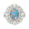 Estate Jewelry:Rings, Opal, Diamond, White Gold Ring The ring featur...