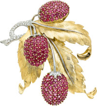 Ruby, Diamond, Platinum, Gold Brooch