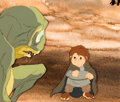 Animation Art:Production Cel, Return of the King Gollum and Frodo ...