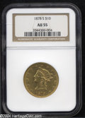 Liberty Eagles: , 1878-S $10 AU55 NGC. Evenly abraded on the fields and ...