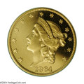 Proof Liberty Double Eagles: , 1864 $20 PR64 Cameo PCGS. A seldom offered Proof Coronet ...