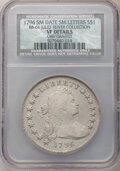1796 $1 Small Date, Small Letters, -- Obverse Graffiti -- B-1, BB-66, R.4, NCS. VF Details. EX: Jules Reiver Collection...