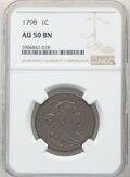 Large Cents, 1798 1C Second Hair Style AU50 NGC. NGC Census: (20/68). PCGS Population: (26/48). CDN: $3,000 Whsle. Bid for NGC/PCGS AU50...