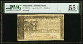 Colonial Notes:Maryland, Maryland April 10, 1774 $6 PMG About Uncirculated 55 EPQ.