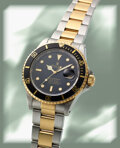 Timepieces:Wristwatch, Rolex, Submariner Ref. 16803, Oyster Perpetual Date, Steel and 18k Gold, circa 1989. ...