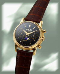 Patek Philippe, Extremely Rare and Fine Ref. 2499 with Confirmed Special Ordered Black Dial, 3rd Series, Ed. Wenger SA C...