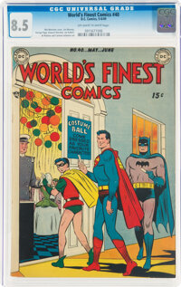 World's Finest Comics #40 (DC, 1949) CGC VF+ 8.5 Off-white to white pages