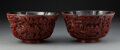 Carvings, A Pair of Chinese Carved Lacquer Lobed Bowls, Qing Dynasty . 4 x 7-1/4 x 7-1/4 inches (10.2 x 18.4 x 18.4 cm) (each). ... (Total: 2 Items)