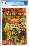 Silver Age (1956-1969):Superhero, The Avengers #1 UK Edition (Marvel, 1963) CGC GD+ 2.5 White pages....