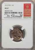 Buffalo Nickels, 1913 5C Type One MS67 NGC. The holder commemorates the guide Book and is signed by Ken Bressett. NGC Census:...