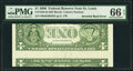 Inverted Back Error Fr. 1933-H $1 2006 Federal Reserve Note. PMG Gem Uncirculated 66 EPQ