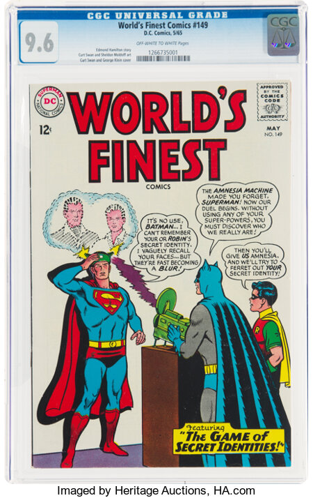 World's Finest Comics #149 (DC, 1965) CGC NM+ 9.6 Off-white to white pages....