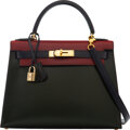 Luxury Accessories:Bags, Hermès Vintage Limited Edition 28cm Tri-Color Vert Fonce, Rouge H, & Indigo Calf Box Leather Sellier Kelly Bag with Gold Hardw...
