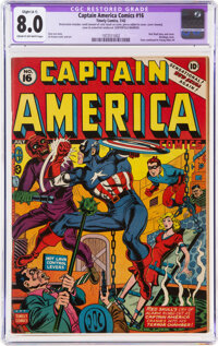 Captain America Comics #16 (Timely, 1942) CGC Apparent VF 8.0 Slight (A-1) Cream to off-white pages