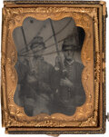 Military & Patriotic:Civil War, Confederate Soldiers: Quarter Plate Ruby Ambrotype.. ...