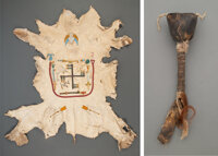 A Navajo Painted Hide and Rattle... (Total: 6 )