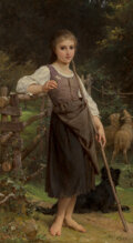 Paintings, Emile Munier (French, 1810-1895). The shepherdess, 1888. Oil on canvas. 30 x 17-1/4 inches (76.2 x 4...