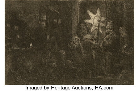 Rembrandt van Rijn (Dutch, 1606-1669) The Star of the Kings: a night piece, circa 1652 Etching with drypoint on laid p...