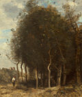 Paintings, Jean-Baptiste-Camille Corot (French, 1796-1875). Lisière de bois, circa 1845-55. Oil on canvas. 22 x 18-1/4 inches (55.9...