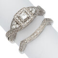 Estate Jewelry:Rings, Diamond, White Gold Ring Set The lot includes ...