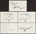 Autographs:Index Cards, Muhammad Ali and Sonny Liston Single Signed Index Cards, Lot of 5.... (Total: 2 items)