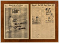 Basketball Collectibles:Publications, 1967 Mickey Mantle 500th Home Run Signed Newspaper Display. ...