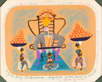 """Mary Blair """"To Good King Andersonia... Supreme Ruler House of Orange"""" Specialty Drawing for Ken Anderson, Sign..."""