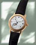 """Timepieces:Wristwatch, Patek Philippe, Fine Ref. 5057R, """"Cortina Jubilee"""" Power Reserve Moonphase, Special Edition, 18k Pink Gold, circa 1997. ..."""