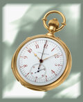 Timepieces:Pocket (pre 1900) , Vacheron & Constantin, Important And Rare Large Gold Minute Repeating Pocket Watch With Split Second Chronograph, Retailed By ...