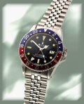 Timepieces:Wristwatch, Rolex, GMT-Master Ref. 16750, Oyster Perpetual Date, Stainless Steel, circa 1980. ...