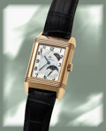 Timepieces:Wristwatch, Jaeger LeCoultre, Very Fine Reverso 8-Day Sun-Moon, 18k Rose Gold, circa 2002. ...