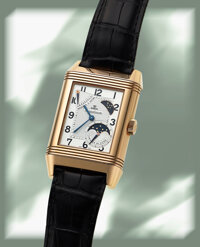 Jaeger LeCoultre, Very Fine Reverso 8-Day Sun-Moon, 18k Rose Gold, Circa 2002