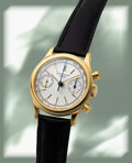 Timepieces:Wristwatch, Patek Philippe, Very Fine and Rare Ref. 1463J, Waterproof Chronograph, 18k Yellow Gold, Manual Wind, Circa 1963. ...