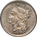 Three Cent Nickels, 1876 3CN MS64+ NGC. NGC Census: (39/22). PCGS Population: (61/46). CDN: $500 Whsle. Bid for NGC/PCGS MS64. Mintage 162,000....