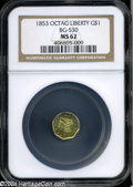 California Fractional Gold: , 1853 $1 Liberty Octagonal 1 Dollar, BG-530, R.2, MS62 NGC.