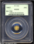 California Fractional Gold: , 1867 25C Liberty Octagonal 25 Cents, BG-709, R.4, MS66 PCGS....