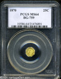 California Fractional Gold: , 1870 25C Liberty Octagonal 25 Cents, BG-759, R.4, MS64 PCGS....