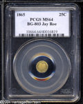 California Fractional Gold: , 1865 25C Liberty Round 25 Cents, BG-803, High R.5, MS64 ...