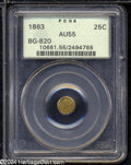 California Fractional Gold: , 1863 25C Liberty Round 25 Cents, BG-820, R.5, AU55 PCGS. ...