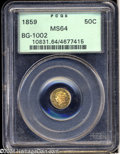 California Fractional Gold: , 1859 50C Liberty Round 50 Cents, BG-1002, High R.4, MS64 ...