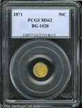 California Fractional Gold: , 1871 50C Liberty Round 50 Cents, BG-1028, High R.6, MS62 ...