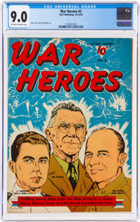 War Heroes #2 (Dell, 1942) CGC VF/NM 9.0 Off-white to white pages